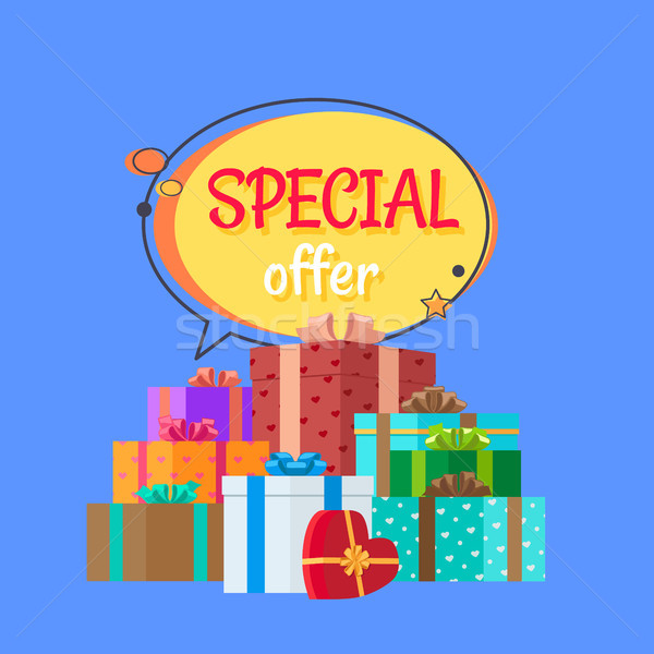 Special Offer Free Gifts Poster with Decor Boxes Stock photo © robuart