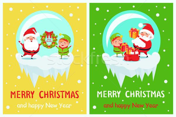 Glückliches neues Jahr heiter Weihnachten Plakat elf Stock foto © robuart