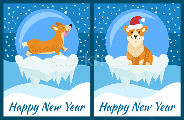 Happy New Year Congratulation from Playing Corgi Stock photo © robuart