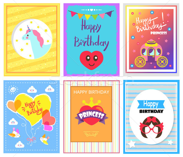 Alles Gute zum Geburtstag Prinzessin Karten Sammlung Sternen Herz Stock foto © robuart