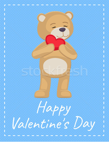 Happy Valentines Day Poster Adorable Teddy Heart Stock photo © robuart
