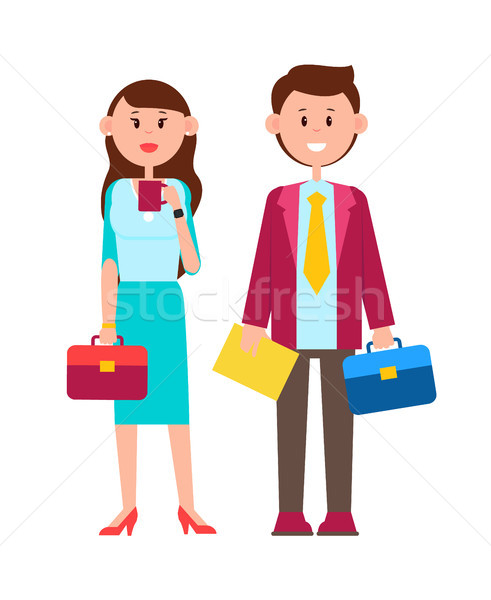 Couple with Briefcases Poster Vector Illustration Stock photo © robuart