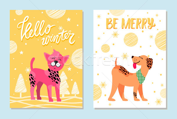 Hello Winter and Be Merry Festive Cards with Dogs Stock photo © robuart