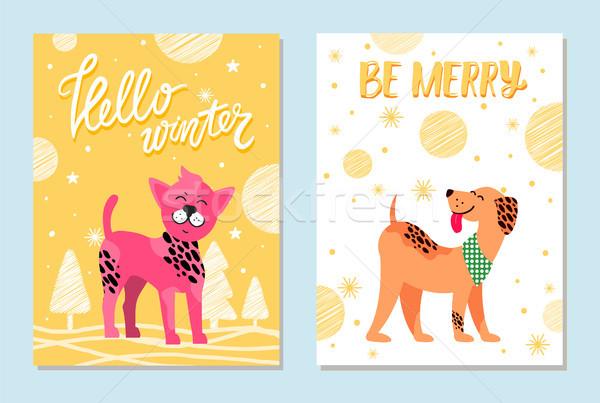 привет зима веселый карт собаки Сток-фото © robuart