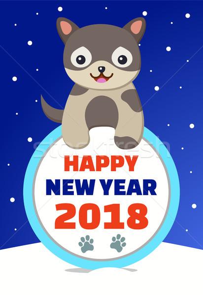 Feliz año nuevo felicitación perro oscuro sonriendo mascota Foto stock © robuart