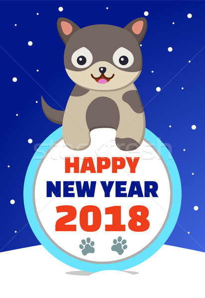 Happy New Year 2018 Congratulation from Dog Stock photo © robuart