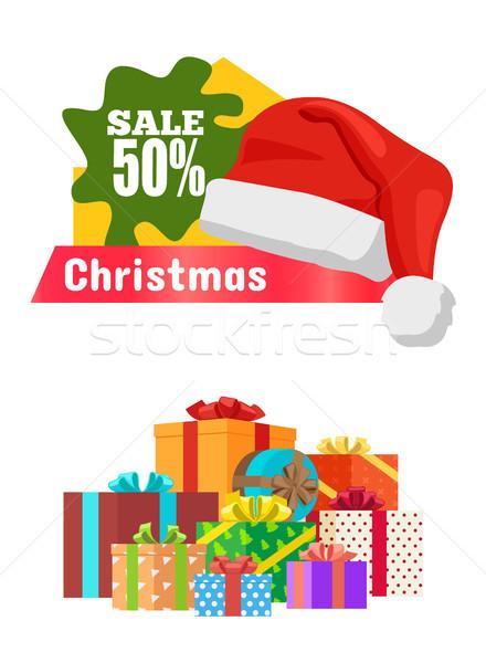 Natale vendita poster promo etichetta Hat Foto d'archivio © robuart