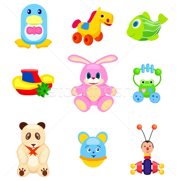 Cute Soft and Plastic Toys Isolated Illustrations Stock photo © robuart