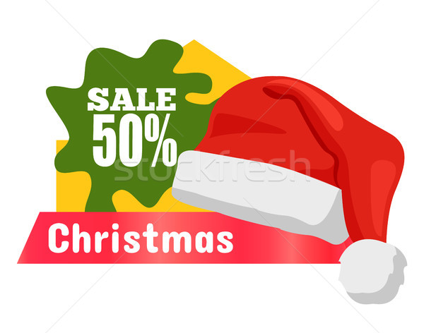 Half Price Christmas Sale Card Vector Illustration Stock photo © robuart