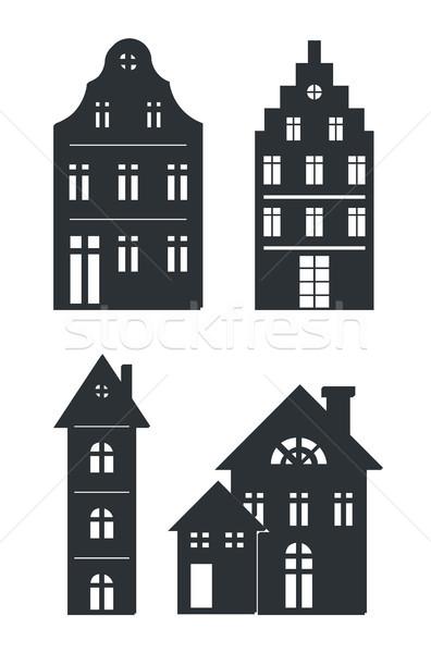 Сток-фото: черный · зданий · белый · изолированный · набор