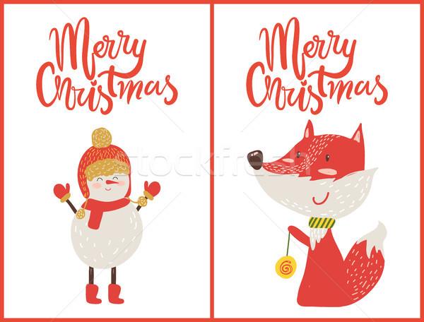 陽気な クリスマス キツネ 雪だるま プラカード アップ ストックフォト © robuart