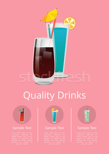 Quality Drinks Promo Poster with Cocktail of Vodka Stock photo © robuart