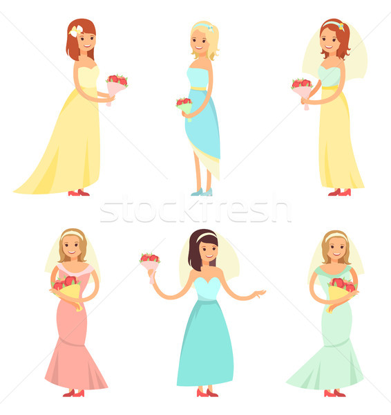 Brides Dancing Collection Vector Illustration Stock photo © robuart
