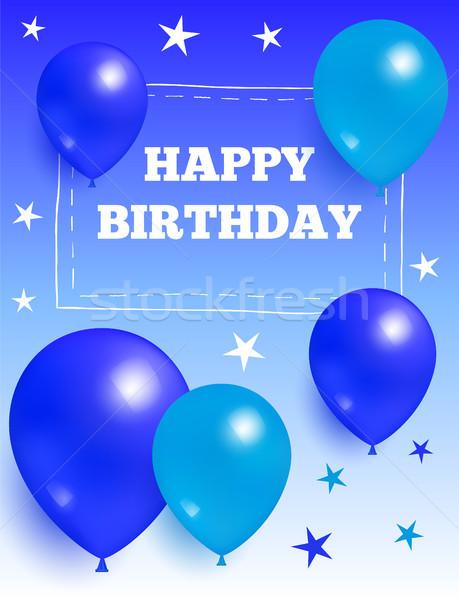 Joyeux anniversaire ballons star étoiles cadre Photo stock © robuart
