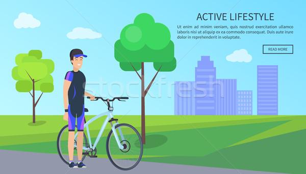 Aktív életstílus biciklis internet oldal szöveg Stock fotó © robuart