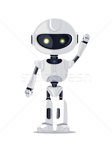 Beautiful Cyborg with Yellow Glossy Eyes Banner Stock photo © robuart
