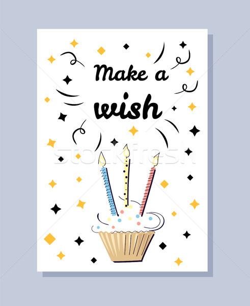 Gyártmány kívánság fehér képeslap születésnapi üdvözlet torta Stock fotó © robuart