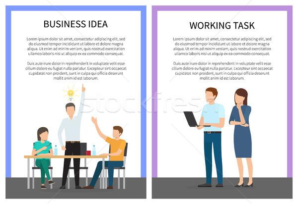 ビジネス アイデア 作業 タスク 人 座って ストックフォト © robuart