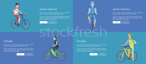 Active Lifestyle and Cycling Colorful Posters Stock photo © robuart