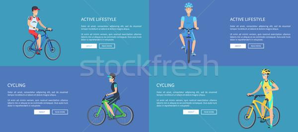 Attivo stile di vita ciclismo colorato manifesti quattro Foto d'archivio © robuart