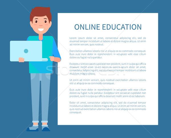 Foto stock: On-line · educação · cartaz · texto · homem · caderno