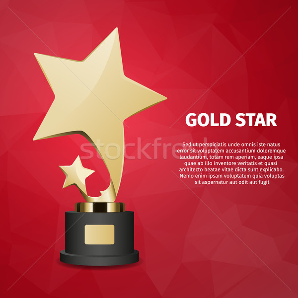 Gold Star Vector Web Banner with Gold Statuette Stock photo © robuart