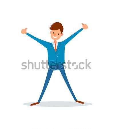 Boy with Rucksack Raise Hands Up Illustration Stock photo © robuart