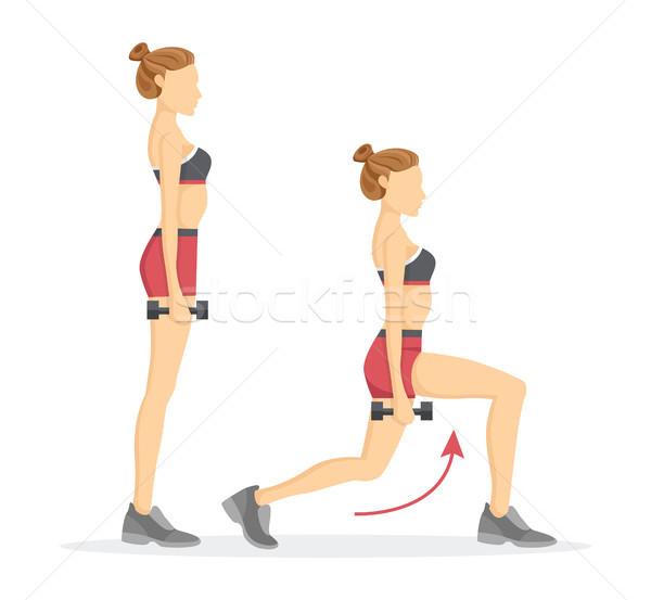 Szett súlyzók piros nyilak mutat helyes Stock fotó © robuart