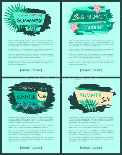 Summer Sale Advert Posters Set with Promo Emblems Stock photo © robuart