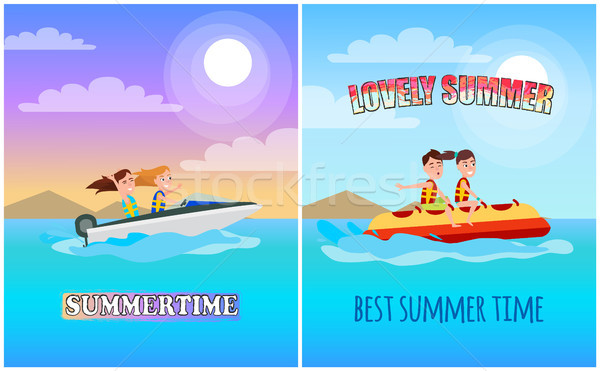 Summertime Posters Collection Vector Illustration Stock photo © robuart