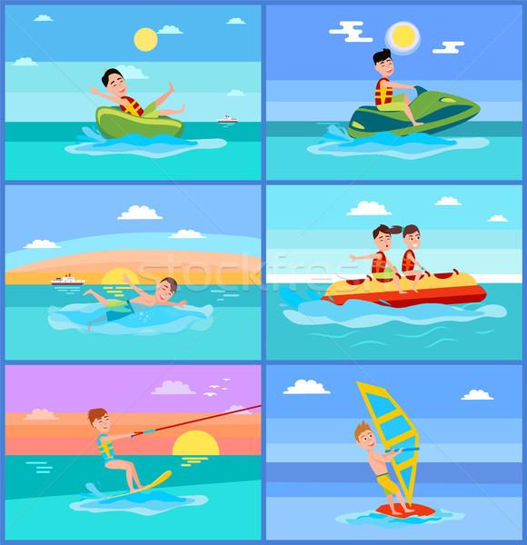 Atividades verão esportes banana barco jet ski Foto stock © robuart