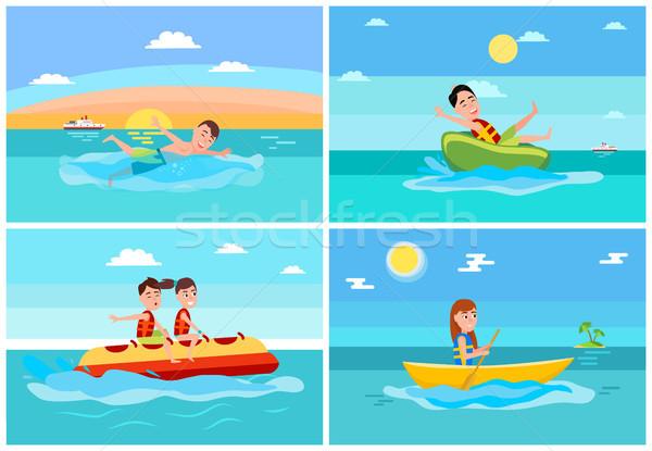 Sport activiteiten collectie banaan boot donut Stockfoto © robuart