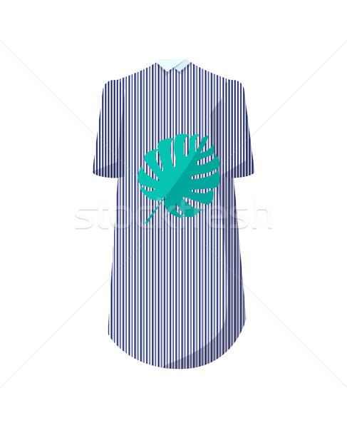 élégante rayé robe feuille imprimer élégant Photo stock © robuart