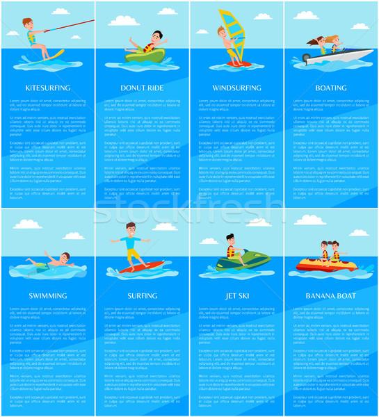 Zwemmen spelevaren jetski banaan boot het windsurfen Stockfoto © robuart