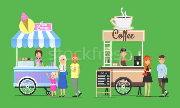 Cold Ice Cream and Hot Coffee Street Carts Set Stock photo © robuart