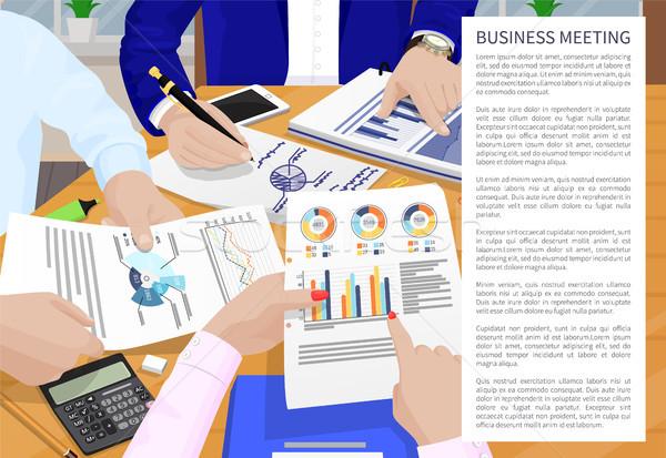 Réunion d'affaires affiche texte échantillon mains personnes Photo stock © robuart