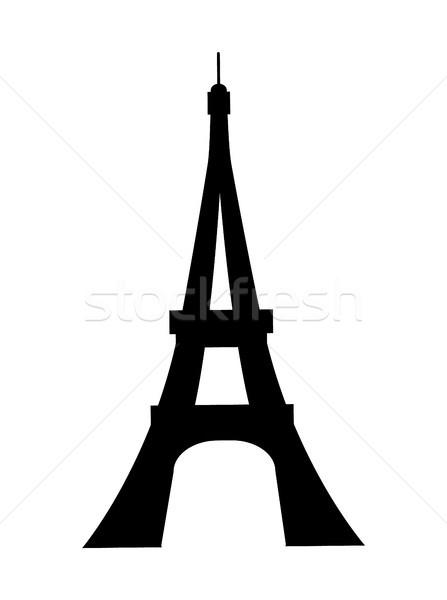 Photo stock: Tour · Eiffel · France · silhouette · noir · repère · Paris