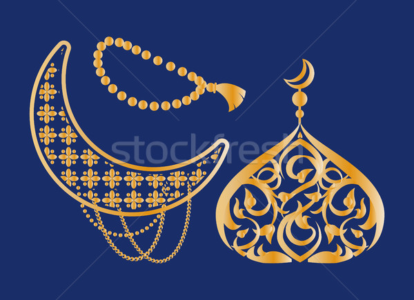 Ramadan Kareem Poster Crescent, Dome Topped Moon Stock photo © robuart