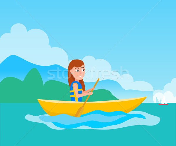 Kayaking Girl Sitting in Boat Vector Illustration Stock photo © robuart