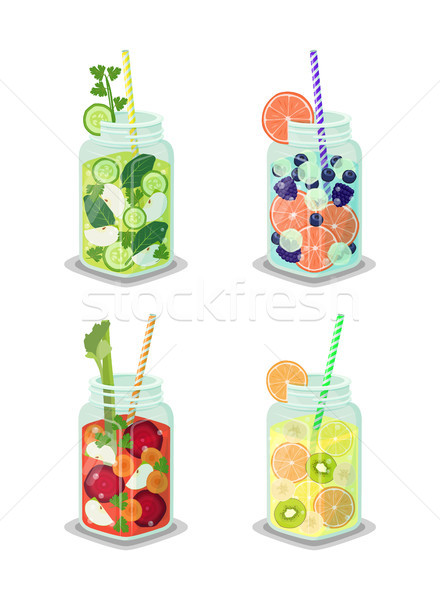Detox Beverages Collection Vector Illustration Stock photo © robuart