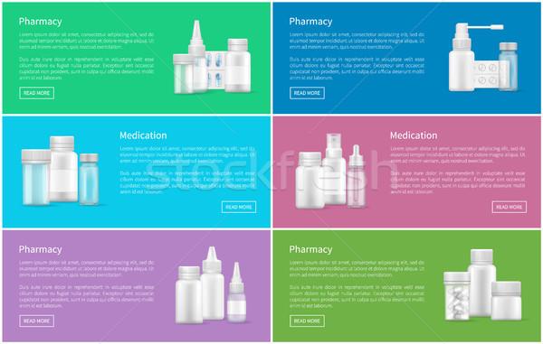 Farmácia conjunto teia pôsteres spray Foto stock © robuart