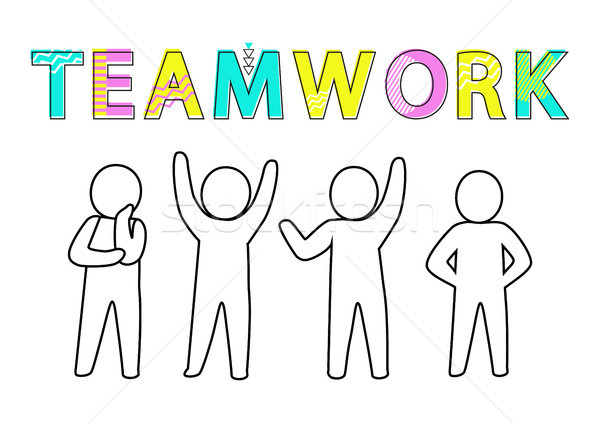 Teamwork Promo Banner with Human Characters Sketch Stock photo © robuart