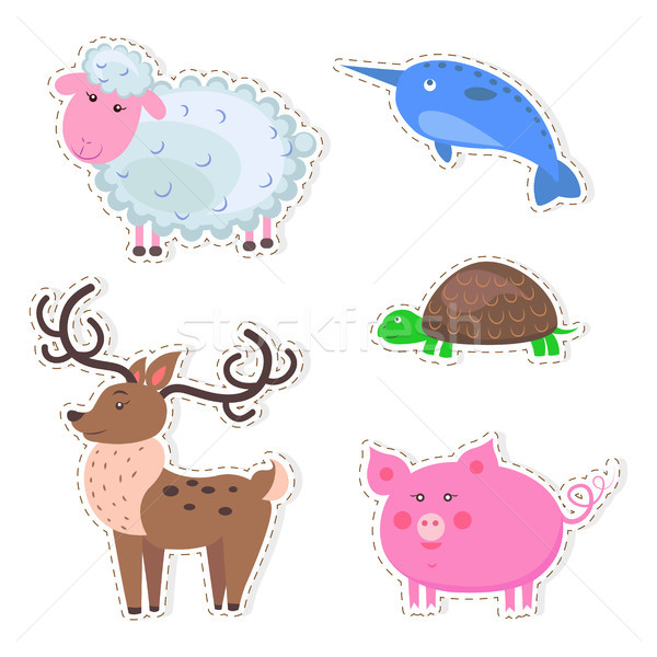 Aranyos állatok rajz vektor matricák szett ikon szett Stock fotó © robuart