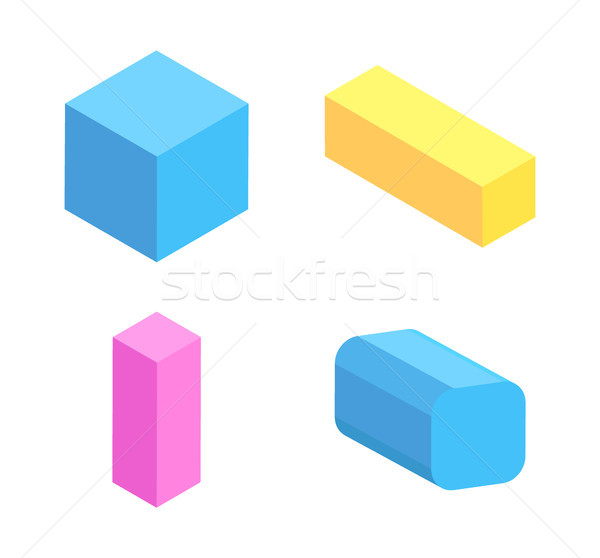 Colorful Geometric Figures Collection, Vector Card Stock photo © robuart