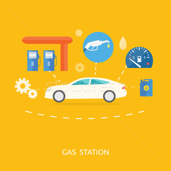 Car in gas station. Fuel petrol dispenser pump handles Stock photo © robuart