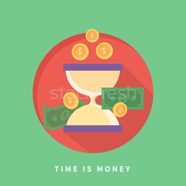 Il tempo è denaro icone soldi vetro sfondo sabbia Foto d'archivio © robuart