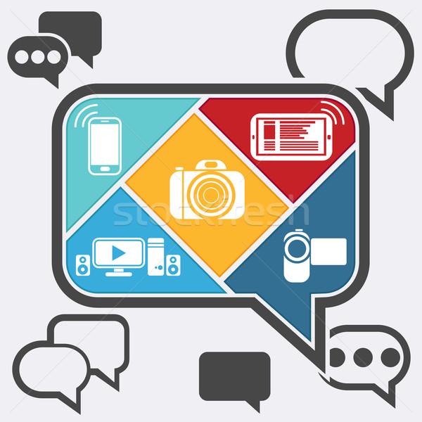 Stockfoto: Bubble · iconen · mobiele · mobiele · telefoon