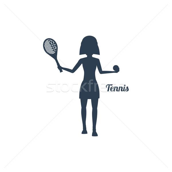Nő ütő teniszlabda sziluettek ikon sport Stock fotó © robuart