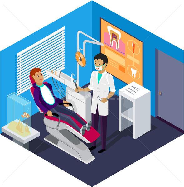 Izometrikus fogorvosi rendelő recepció beteg fogászat orvosi rendelő Stock fotó © robuart