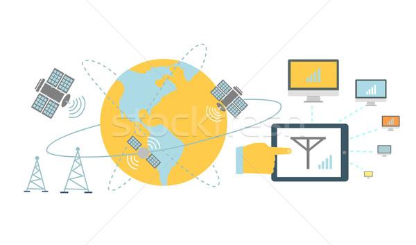 Satellite Global Network Provider Icon Flat Stock photo © robuart